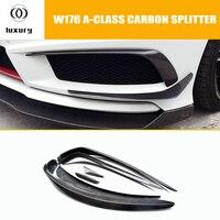 W176 углеродного волокна передний бампер боковой протектор бампера спойлер для Mercedes Benz W176 A180 A200 A260 A45 AMG Спорт бампер 13 15