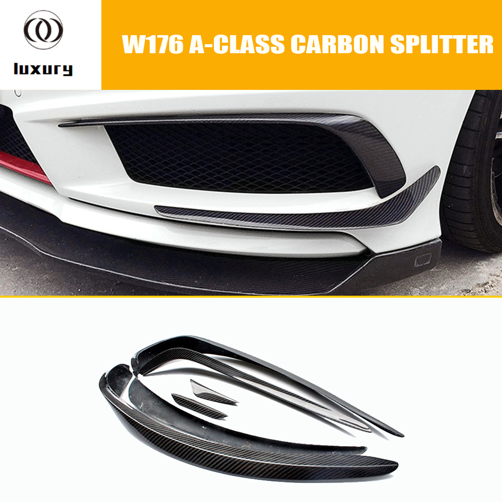 W176 Carbon Fiber Front Bumper Side Canards Splitter Spoiler for Mercedes Benz W176 A180 A200 A260 A45 AMG Sport Bumper 13 - 15 mercedes w176 carbon fiber rear bumper canards for benz a class a45 amg package 2012 rear air dam trimming