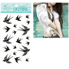 Design 1pcs The Swallow Bird Flash Tattoo Removable Waterproof Temporary Tattoo Stickers Temporary Body Art Painting