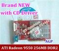 НОВЫЙ оригинальный ATI Radeon 9550 256 МБ DDR2 AGP 4x 8x карты ФОРМЫ завод нижний конец AGP видео графическая карта с CD водитель