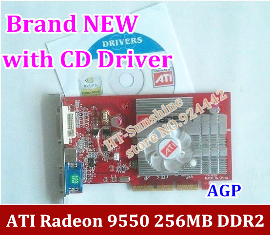 NEW original ATI Radeon 9550 256MB DDR2 AGP 4x 8x video Card FORM factory low end AGP video graphic card with CD Driver
