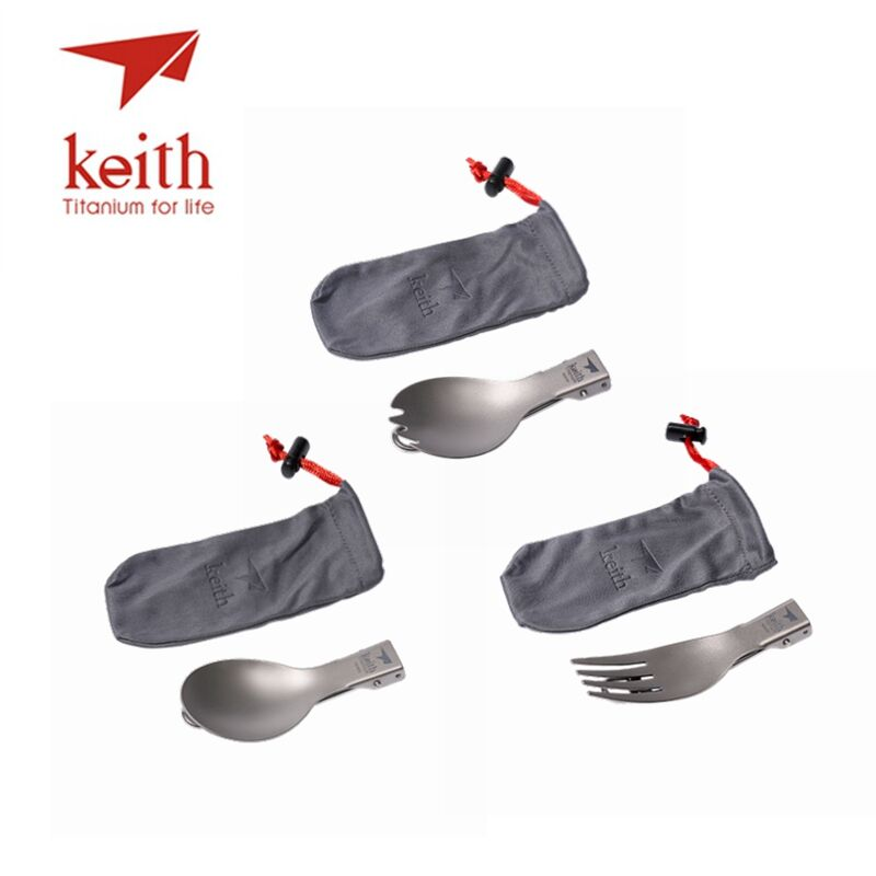 Keith 3 In 1 Titanium Folding Spoon Fork Spork Tableware Set 3Pcs Cutlery Sets With Flannel Bags Outdoor Picnic conch beach 3pcs antiskid flannel toilet mat set