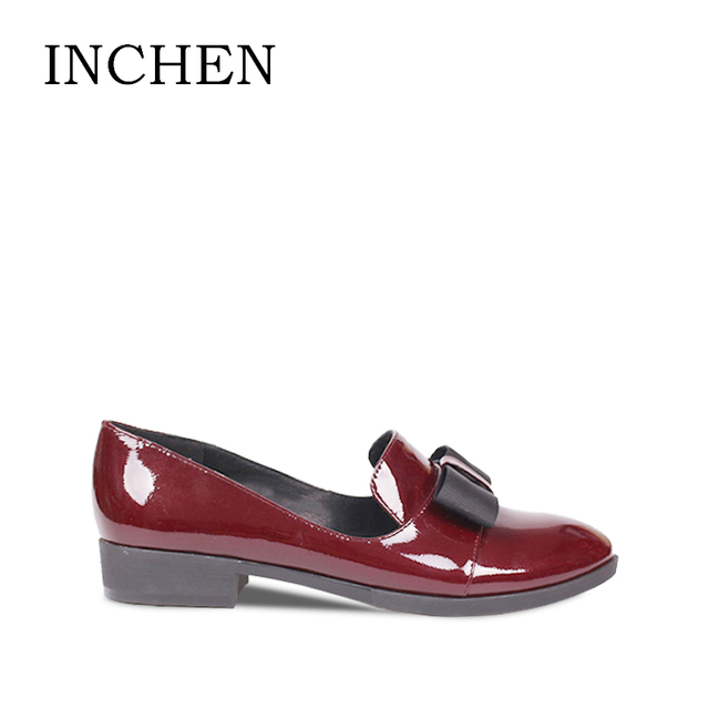 INCHEN Brand Patent Leather Ladies Pumps Butterfly-Knot Low Heel Handmade Pumps Round Toe Black Wine Red Casual Women Shoes JS01