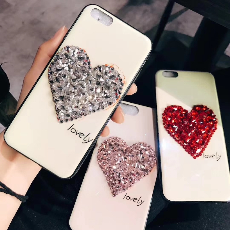 Luxury Fashion glaring Shining DIY rhinestone diamond heart <font><b>blu-ray</b></font> soft phone case For Huawei p10 20 mate 9 10 lite pro plus
