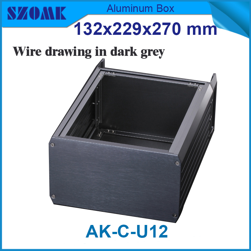1 piece Black color high quality aluminum 19 inch rack junction box enclosures 132(H)x229(W)x270(L) mm electronic project box 44 5 h x482 w x200 l mm extruded aluminum enclosures black high quality and cheap cost aluminum case