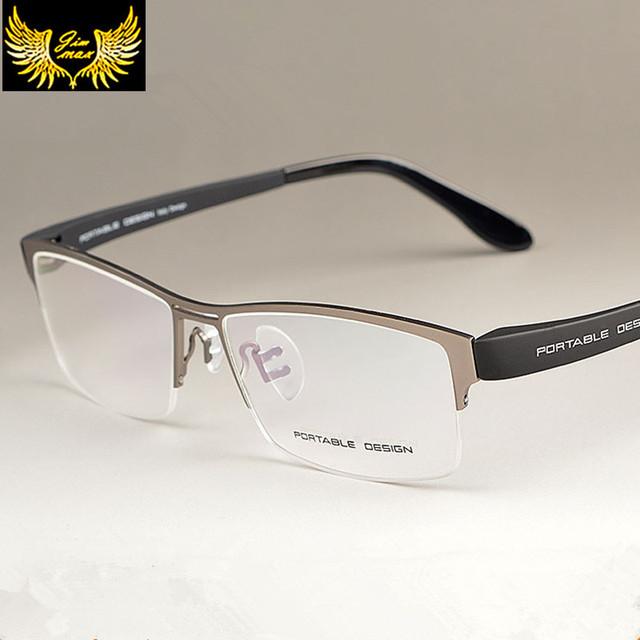 2016 Homens Novos da Chegada Prevista Estilo Liga de Titânio Metade Aro Óculos Óculos de Design de Moda masculina Casual Frame Ótico para homens