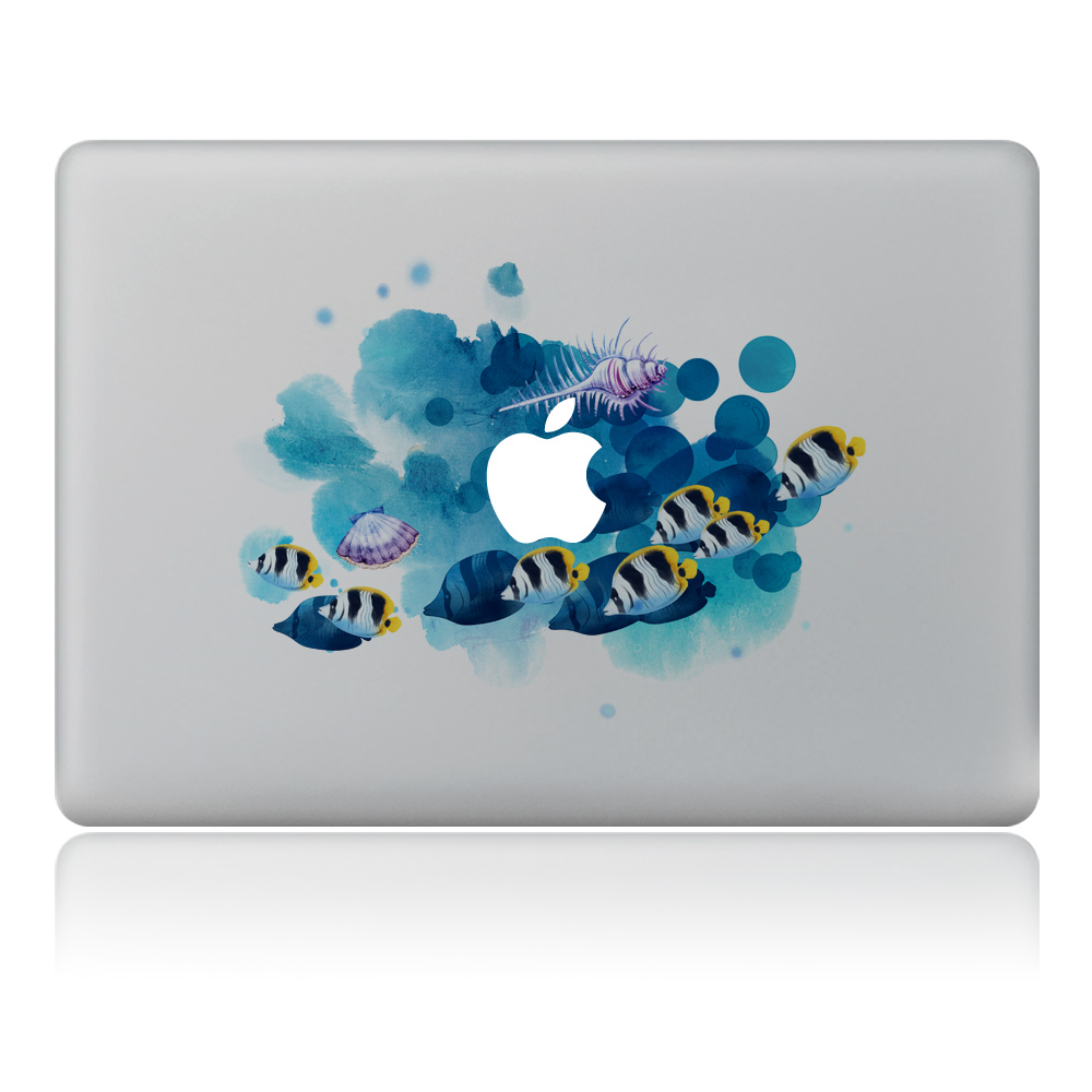 Graffiti-style fish in water Vinyl Decal Laptop Sticker For DIY Macbook Pro Air 11 13 15 inch Laptop Skin