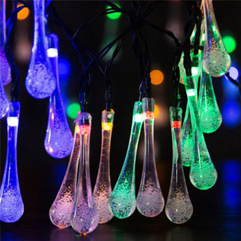 Beautiful Solar Power Light 6.5M 30LEDS Rain Drop String Outdoor Solar Lamp IP66 Waterproof Solar Fairy String Garden Led Solar