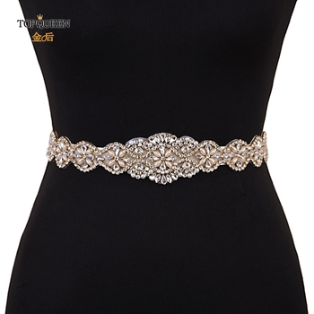 TOPQUEEN S161-G Wedding Gold Belt Pearl Rhinestone Belts for Dresses and Applique Trim