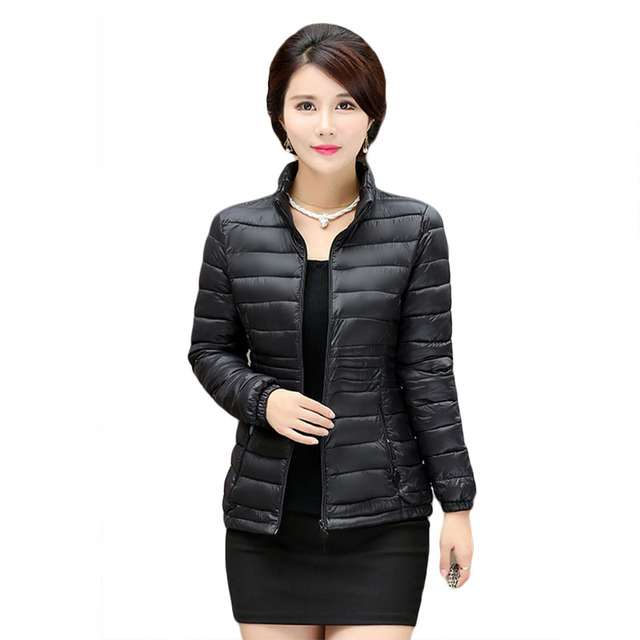 2017 Women's autumn and winter coat big yards short paragraph Slim thin section down padded cotton jacket wholesale parkas 7458