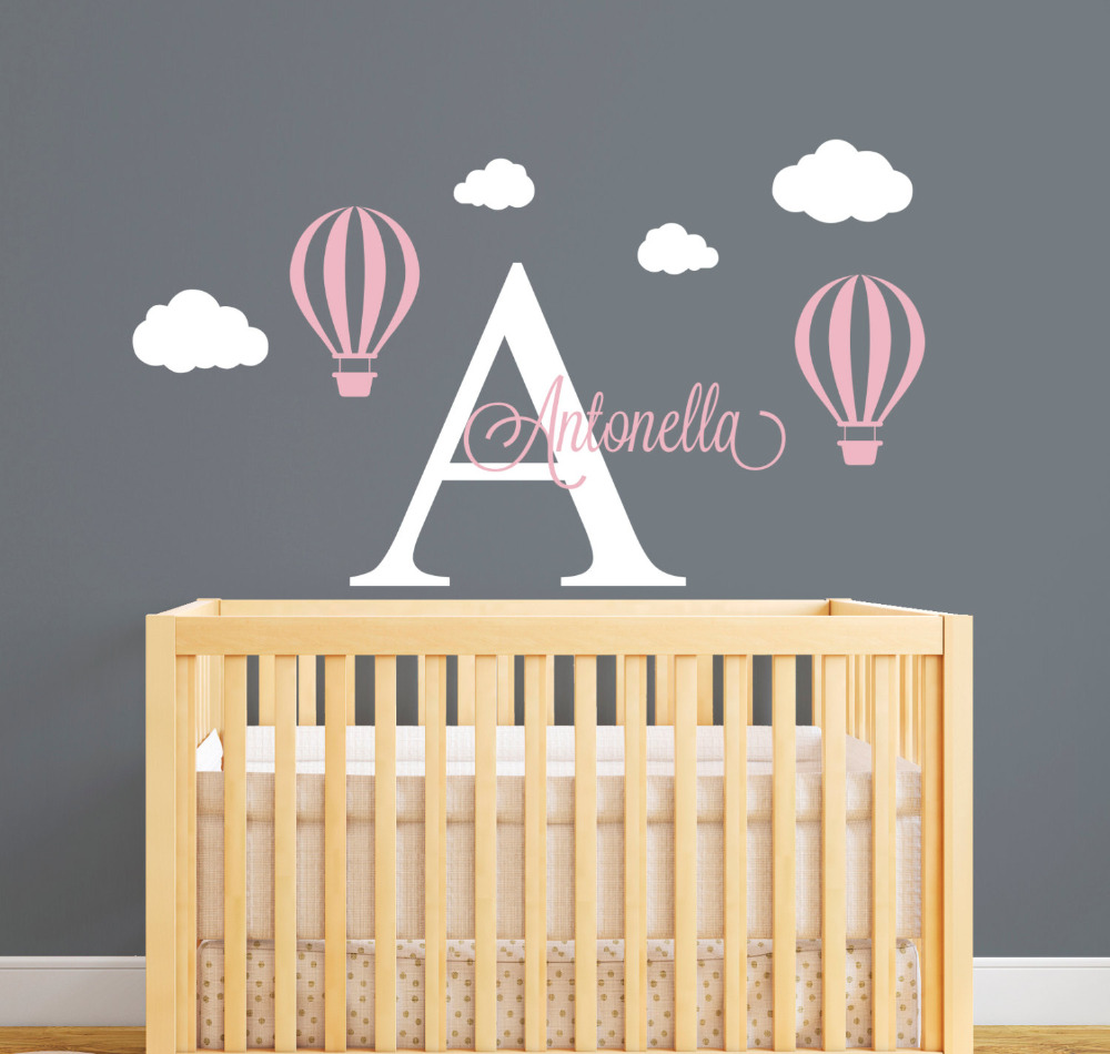 Personalized Name Wall Decal Hot Air Balloon Wall Stickers For Kids Room  Girls Name Wall