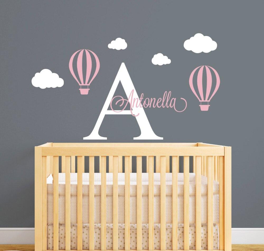 Personalized Nama Dinding Decal Hot Air Balloon Wall Stiker Untuk Kamar  Anakanakname