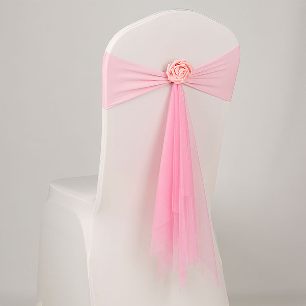 Cheap 50pcs lot Pink White Orange Muslin Chair Sashes With Pink Flower For Wedding Decoration Ceremony