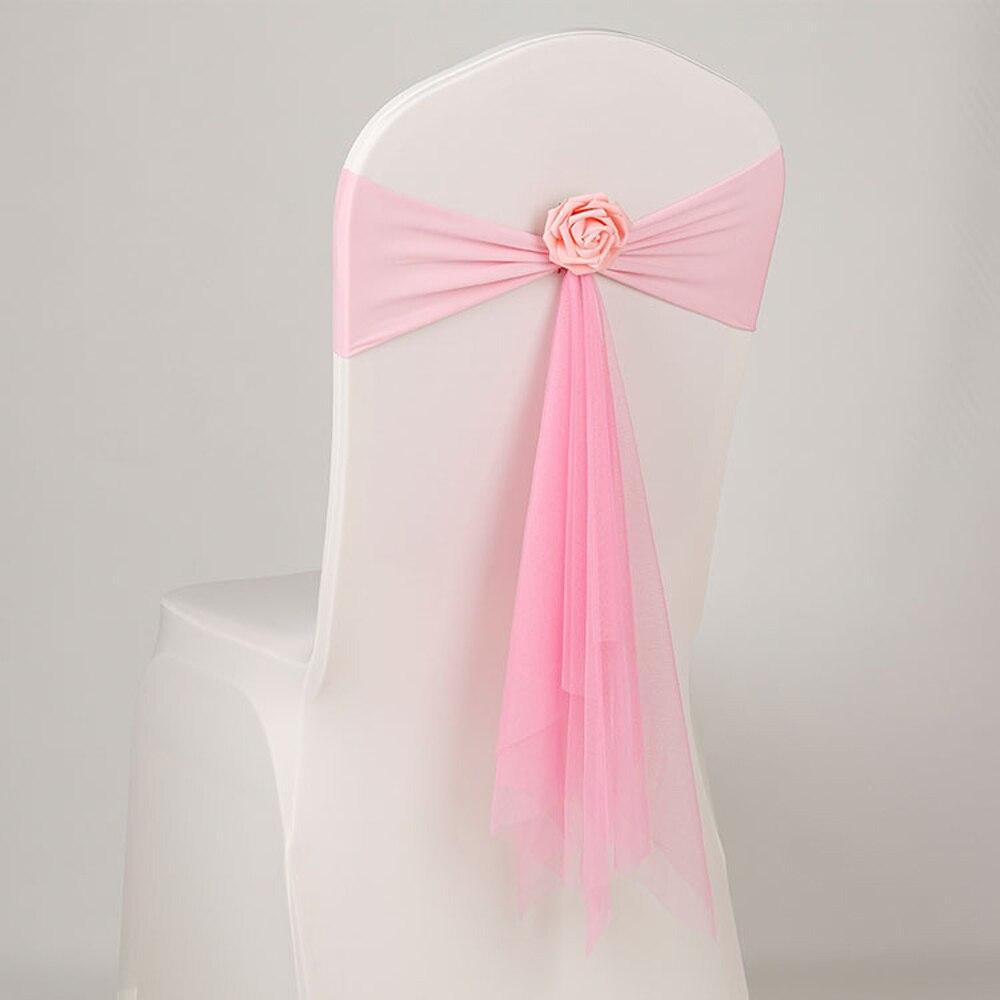 Goedkope 50 stks/partij Roze/Wit/Oranje Mousseline Stoel Sjerpen Met Roze Bloem Voor Bruiloft Decoratie Ceremony Stretch Lycra stoel Band-in sjerpen van Huis & Tuin op  Groep 1
