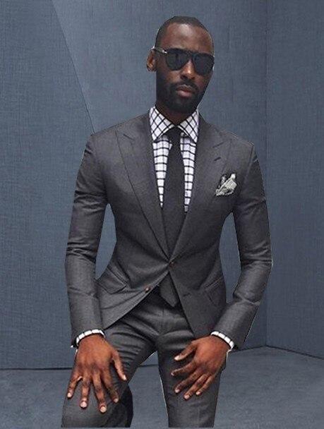 Beau Style deux boutons gris foncé marié Tuxedos pic revers hommes d'honneur hommes costume de mariage (veste + pantalon + cravate) W: 339
