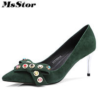 MsStor Pointed Toe Pumps Women Shoes Shallow Crystal Rivet High Heels Zapatos Mujer 2018 Spring Ladies