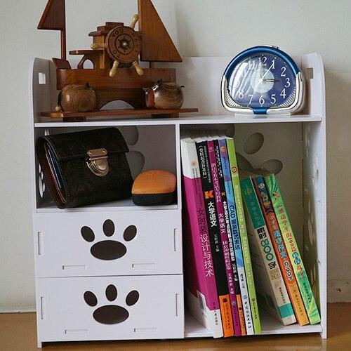 Blanc grande étagère de bureau en bois étagères Double tiroir boîte de rangement de bureau Rack dortoir stockage étagère