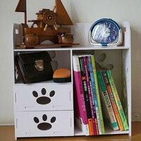 White Large Wooden Desk Shelf Shelves Double Drawer Desktop Storage Box Rack Dormitory Storage Bookshelf