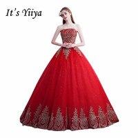 Es YiiYa Trailing Red Moda Vestidos de Novia de Tren Vestido de Boda Sin Tirantes Barato Vestido de Boda Vestido de Novia XXN140