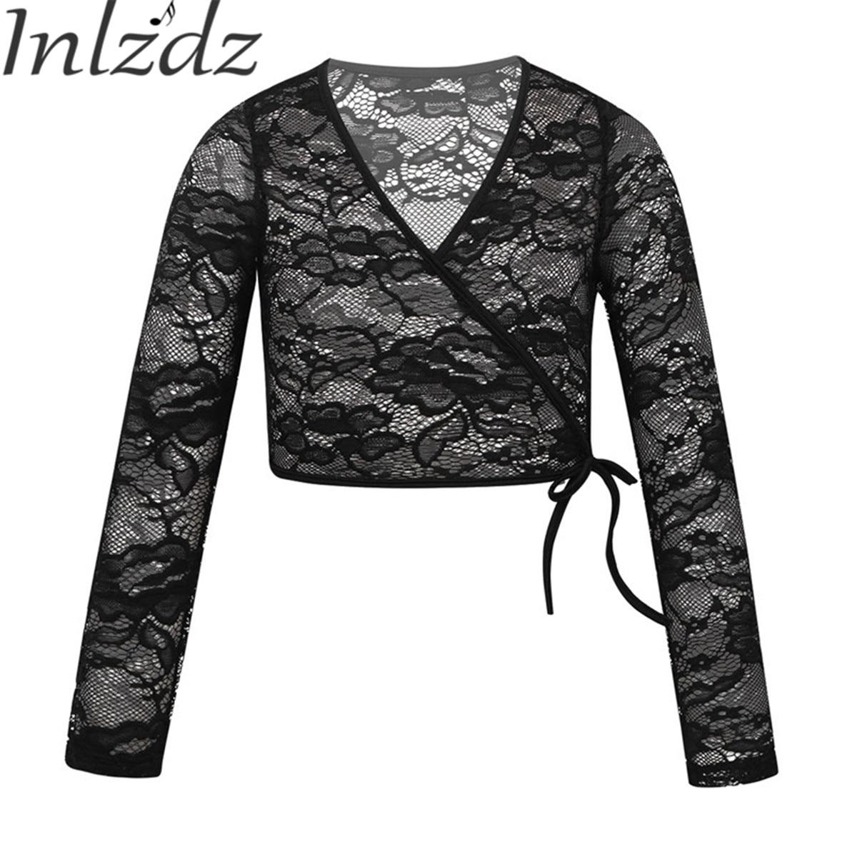 Kids Girls Ballet Sweater Dance Costome Floral Wrap Top Ballerina Tutu Dancewear Jacket Gymnastics Leotard Child Dance Clothing