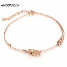 AMOURJOUX Fashion Rose Gold Plating Zircon Elephant Charm Leg Anklets For Women Ankle Bracelet Woman Anklet Female Foot Jewelry