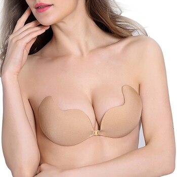 Fly Bh Liebsten Silikon Push-Up-Bh Unsichtbar Selbst Klebe Backless Bralette Plus Größe Nahtlose Bhs Frauen Deutet EINE B C D