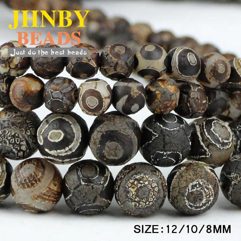 JHNBY China Tibetischen Dzi Augen perlen Natürliche braun Stein Religion 8/10/12MM Runde Lose perlen für schmuck machen armband DIY
