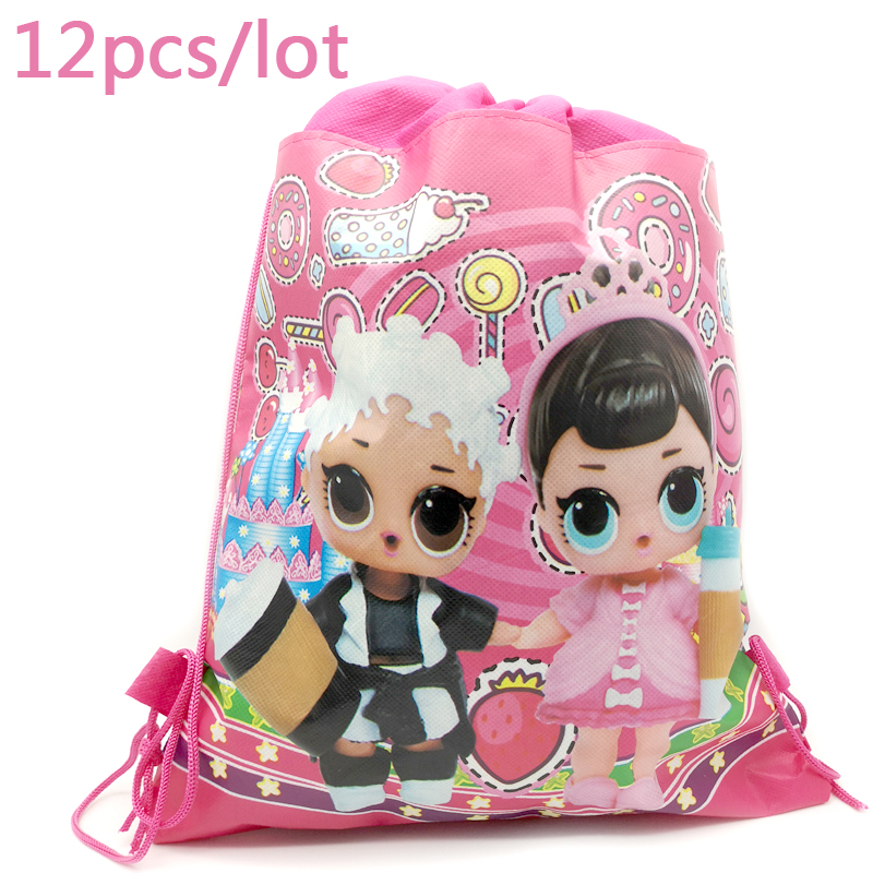 Baby Shower Events Mochila Birthday Party Decoration Lol Surprise Doll Drawstring Gifts Bags Girls Kid Favors Backpack 12pcs Lot