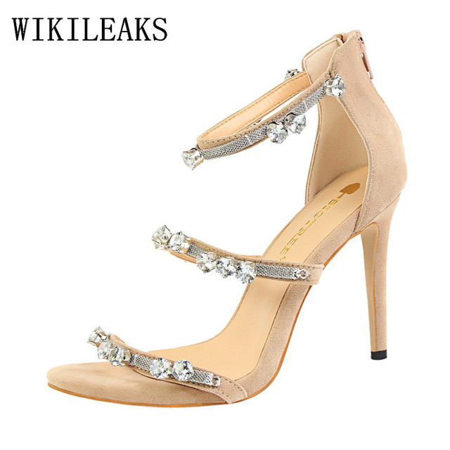 Elegant Designer Bigtree Shoes Women Luxury 2017 Brand Rhinestone Suede Red High Heels Sandals Wedding