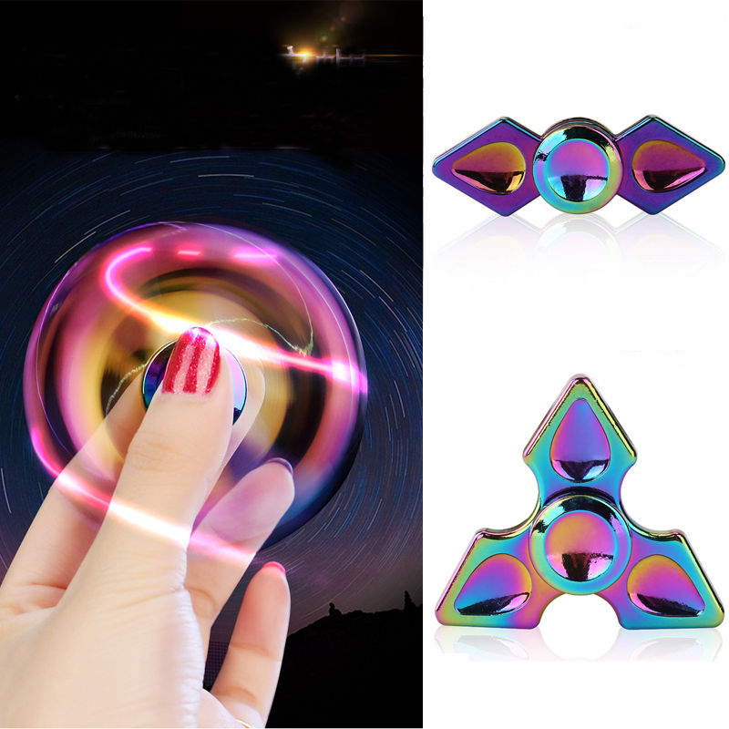 Rainbow Color Gyro Finger Spinner Fidget Toys Alloy Fidget Hand Spinners For Kids Autism Gifts