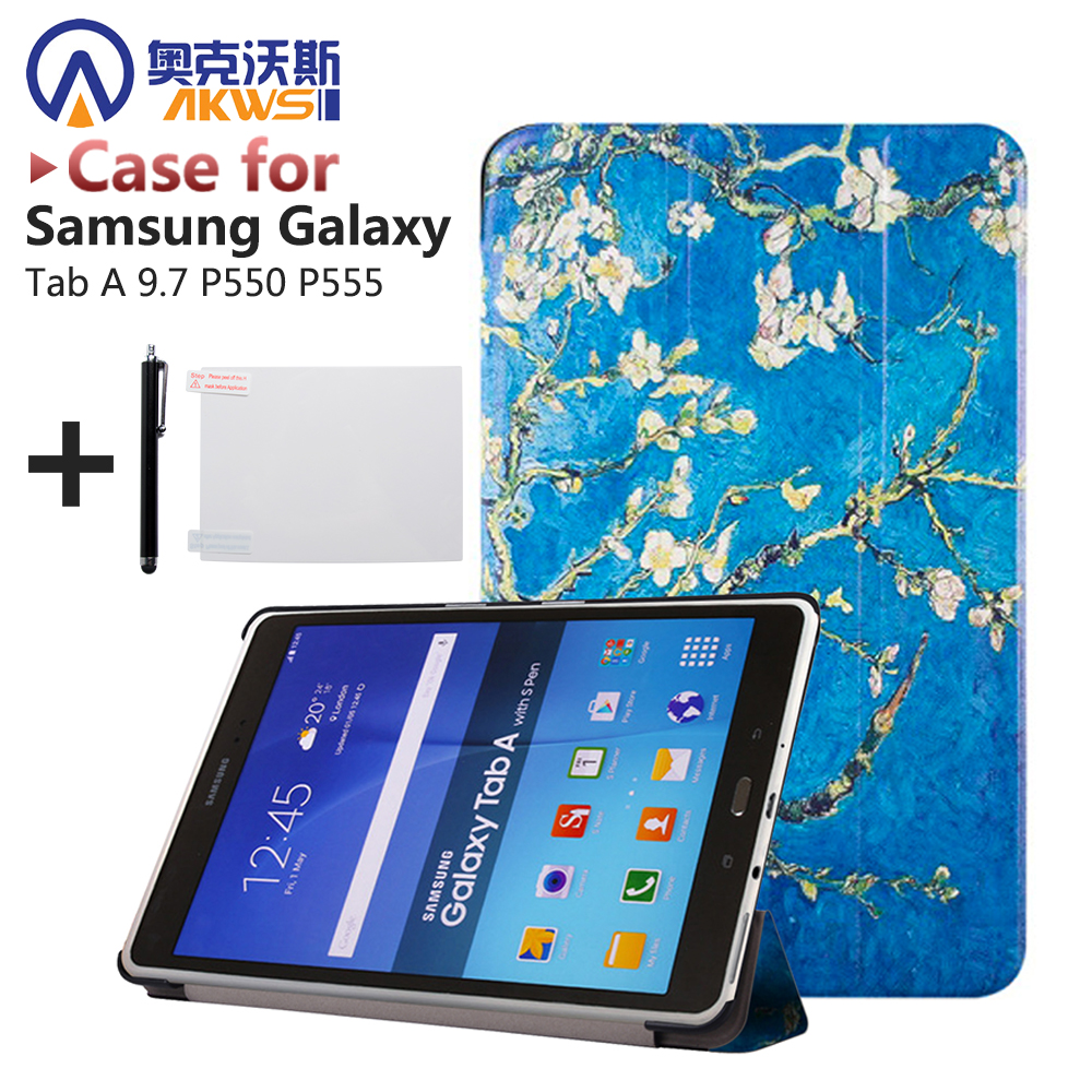 High Quality Stand PU Leather Case Magnetic Smart cover for samsung GALAXY Tab A 9.7 P555 P550 tablet case+stylus+Film veronese ws 98 2 статуэтка клятва гиппократа