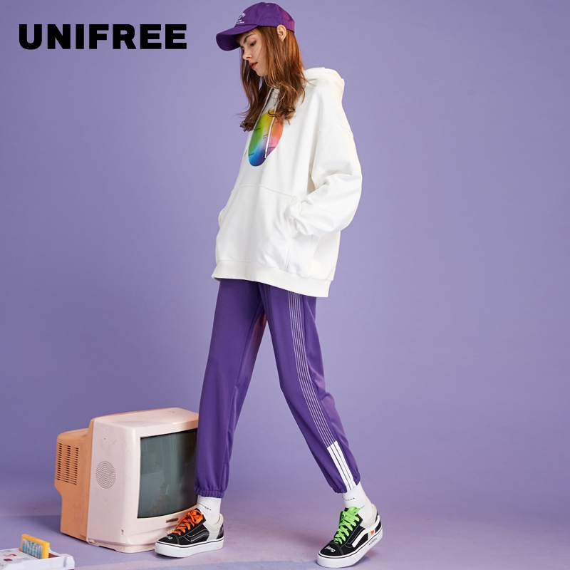 UNIFREE2019 new female side stripes contrast color feet loose slim casual sports pants UOC183P110