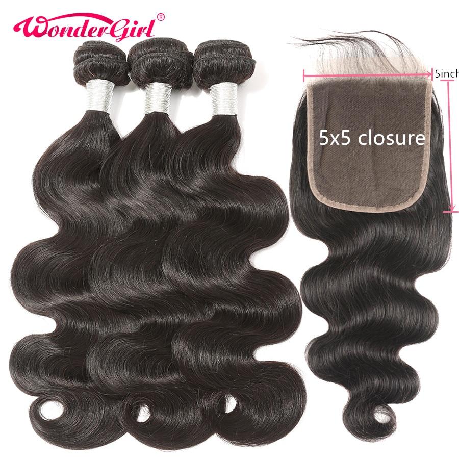 Wonder girl Body Wave 3 Bundles With Closure 5x5 Closure With Bundles Remy Peruvian Human Hair