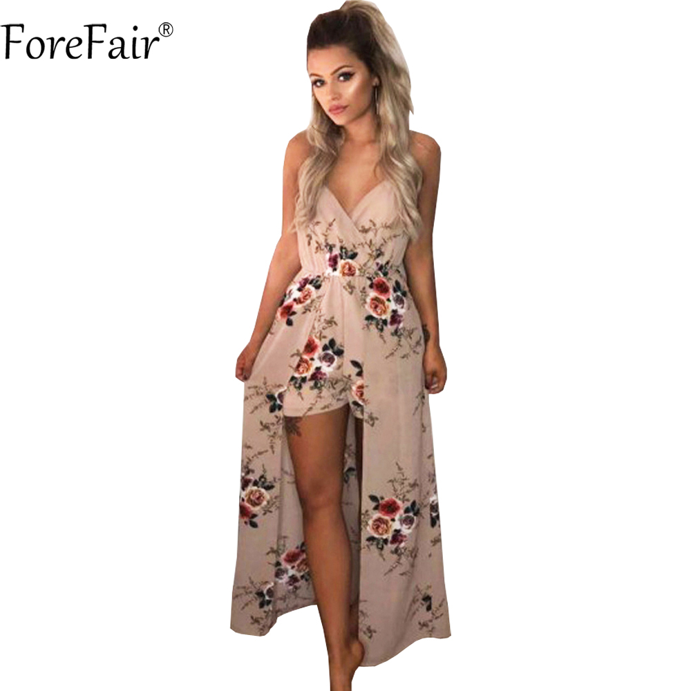 ForeFair Sexy V-neck Women Maxi Rompers Plus Size Female Blue Khaki Split Jumpsuits Summer Boho Long Playsuits