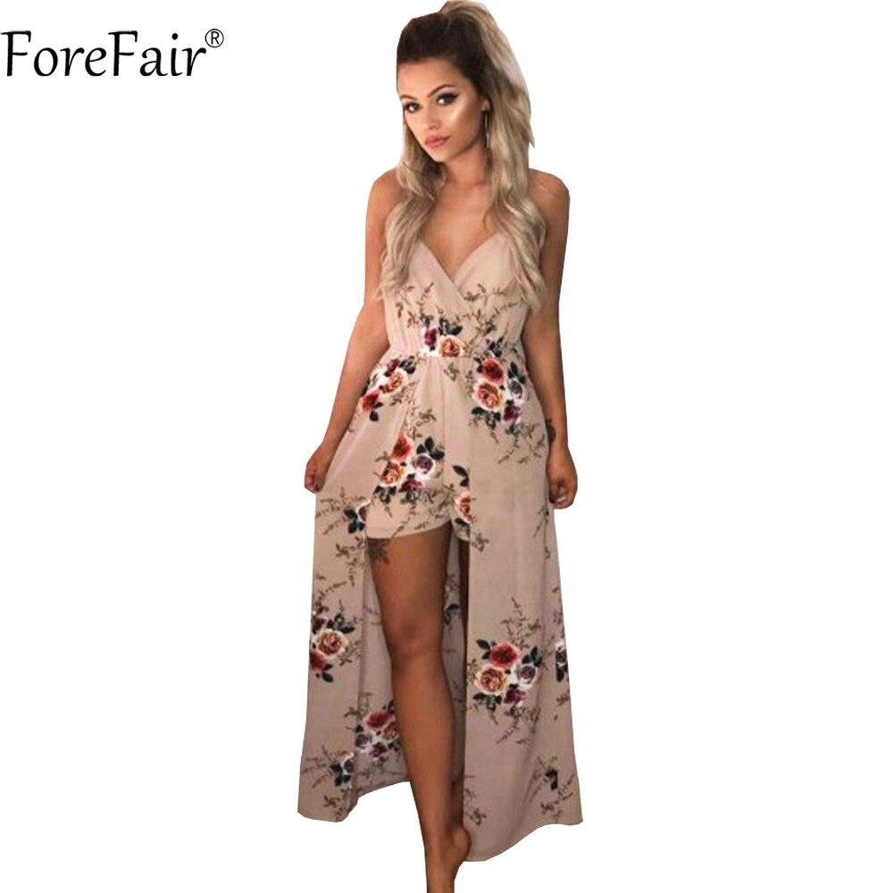 ForeFair Sexy V-neck Women Maxi Rompers Plus Size Female Blue Khaki Split Jumpsuits Summer Boho Long Playsuits
