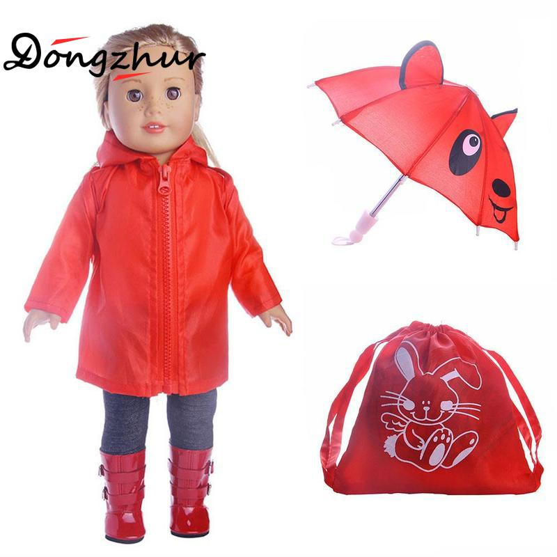 Dongzhur 18 Inch Doll Accessories 6pcs/set Doll Raincoat Umbrella Backpack Boots Set Suitable For 18 Inch American Girl Dolls american girl doll clothes superman and spider man cosplay costume doll clothes for 18 inch dolls baby doll accessories d 3