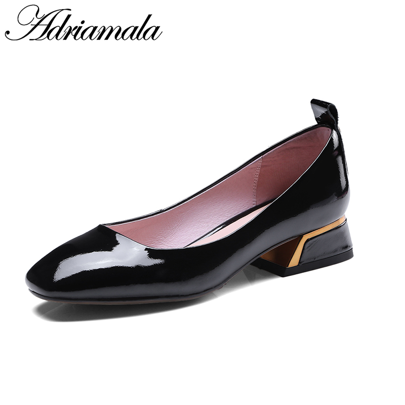 2018 Spring Genuine Leather Square Toe Med Heels Pumps Shoes For Women Cow Leather Classics Rivet Slip-on Casual Shoes Adriamala 2018 patent leather slip on keep warm pumps for women square toe preppy style pearl wedding med heels brand winter shoes l18
