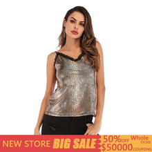 цена на Sexy Golden Snake Print Tank Top Women Casual Backless Knitted Lace Summer Top Women Streetwear Sleeveless Top Mujer Verano 2019