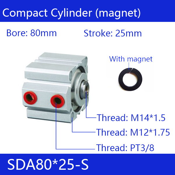 SDA80*25-S Free shipping 80mm Bore 25mm Stroke Compact Air Cylinders SDA80X25-S Dual Action Air Pneumatic Cylinder sda80 60 free shipping 80mm bore 60mm stroke compact air cylinders sda80x60 dual action air pneumatic cylinder
