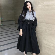 c126eae7c7e7 2018 The New Autumn Clothing Loose Sporty Style Zipper Waist Wild  Temperament Splice Fashion Women Dresses