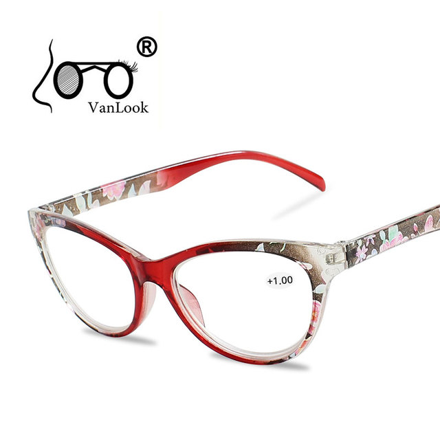 28ae7c8c421f Floral Cat s Eye Reading Glasses for Sight Women s Spectacles with Diopters  Erkek Gozluk Degree Eyeglasses +