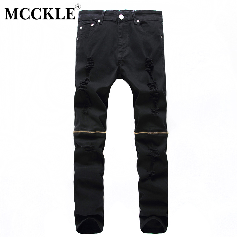 MCCKLE New Fashion Men Ripped Designer Jeans Pants Slim Fit Knee Zipper Jeans Men Club Wear Bright Color Denim Jogger Q1159 men s cowboy jeans fashion blue jeans pant men plus sizes regular slim fit denim jean pants male high quality brand jeans