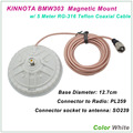 New Arrival KINNUOTA BMW303 Color White MAGNETIC MOUNT SO239 with 5 Meter TEFLON RG-316 Coaxial Cable PL259