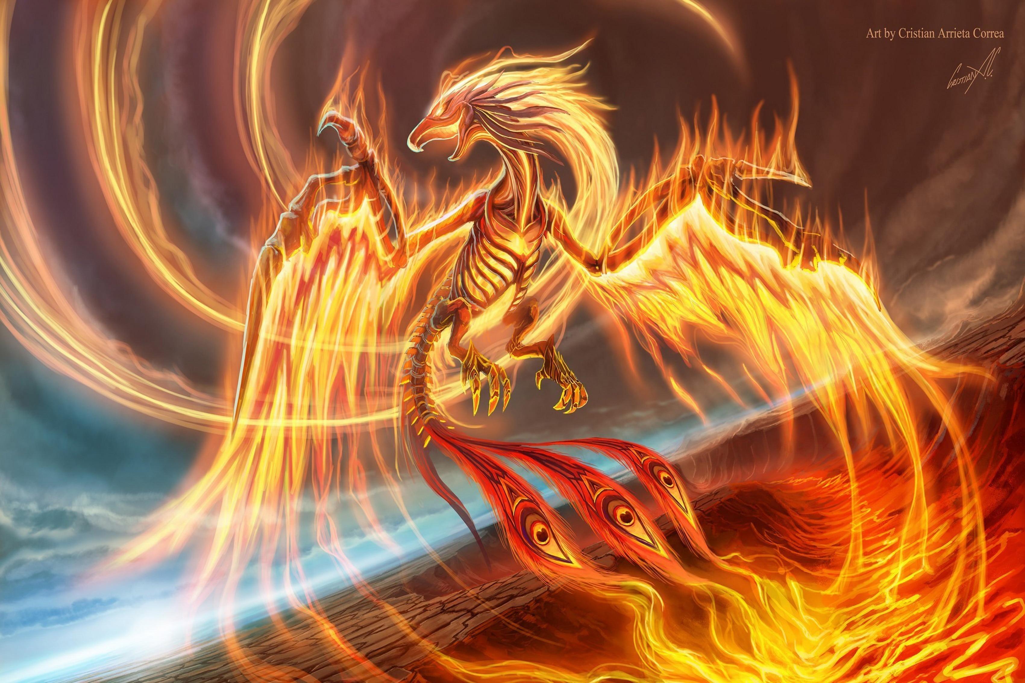 ⊱Obras de Arte fantasía arte dragón fuego llama Sala Arte ...