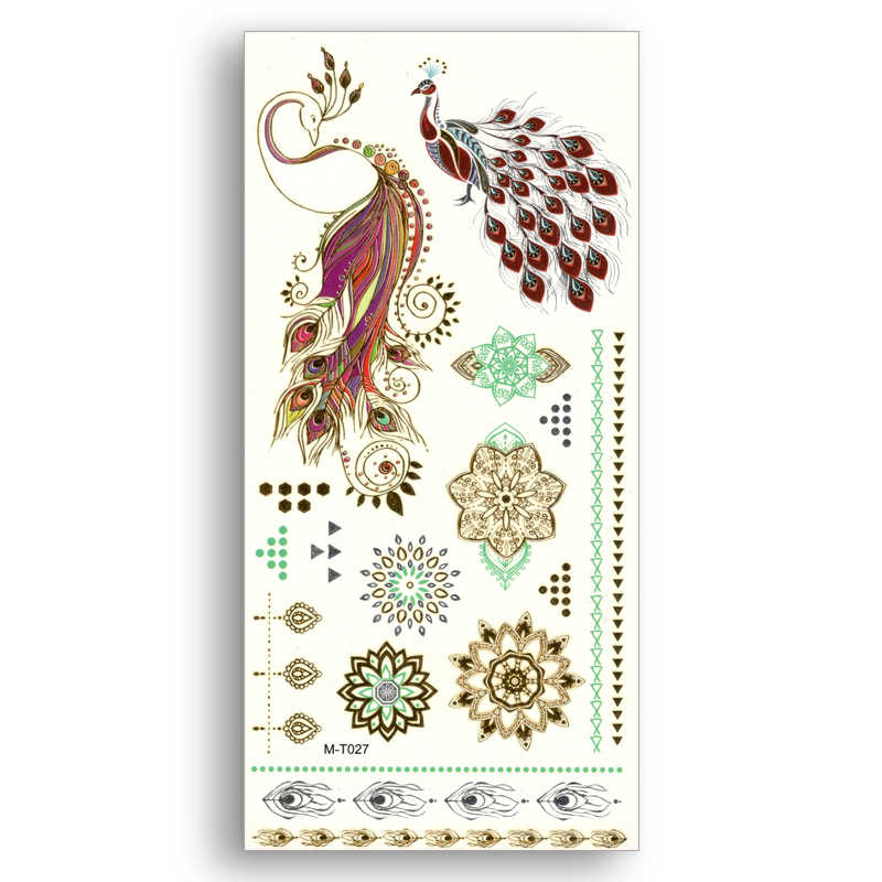 Temporary Fake Gold tattoos Waterproof Water Transfer Peacock Phoenix Stickers Mandala Flower Women Beauty Sexy Body Art