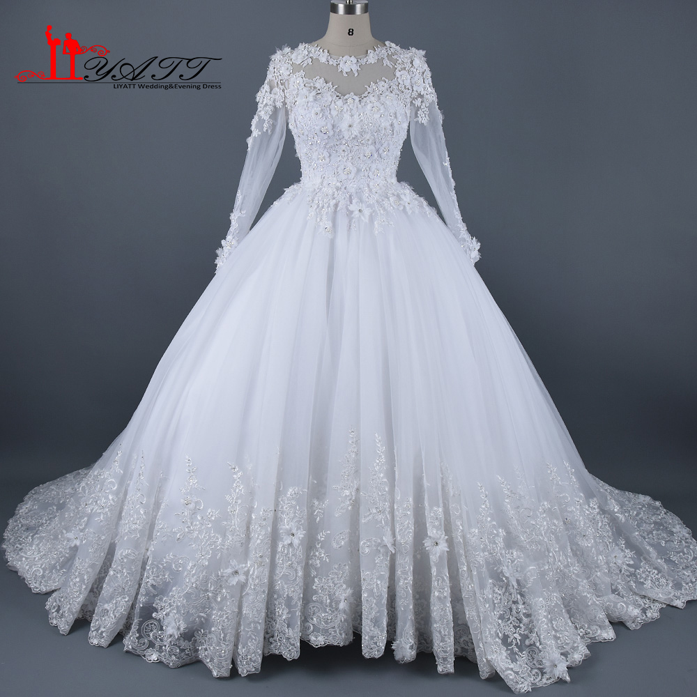 Real Photo 2017 Amazing Wedding Dresses Muslim Arabic Long Sleeves 3D Lace Flowers Extra Puffy Bridal Gown LIYATT