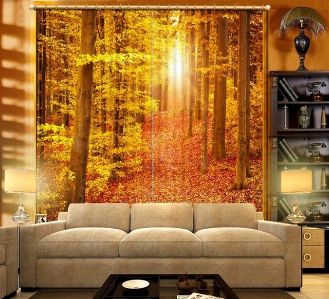Foto Gordijn bos landschap Verduisterende Gordijn geel 3D Gordijnen ...