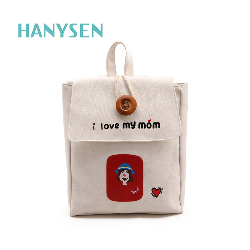 2017 New Korean Fashion Letters Printing Women Canvas Backpack Large Buttons Figure Pattern Female Bag Candy