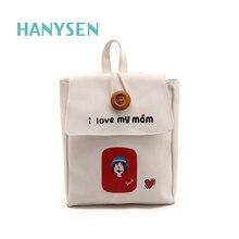 Новинка 2017 года Корейская мода Письма Печать Женщины Холст рюкзак большие кнопки рисунок узор женская сумка конфеты Цвета школьные сумки