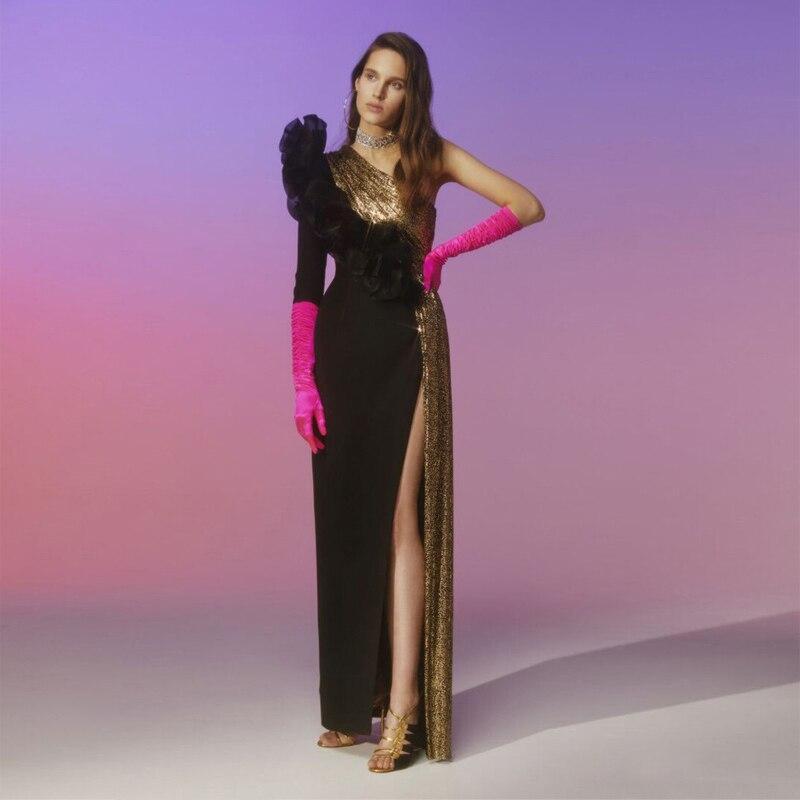 Robe Noire Longues Nouveau Mode Défilé De Manches Hiver Maxi Épaule Femmes Brillant Sequin Cocktail Celebrity Robes Une O4CZOqnxa